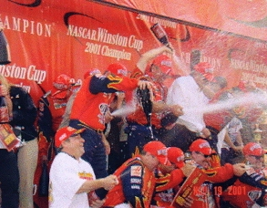 Spraying champagne